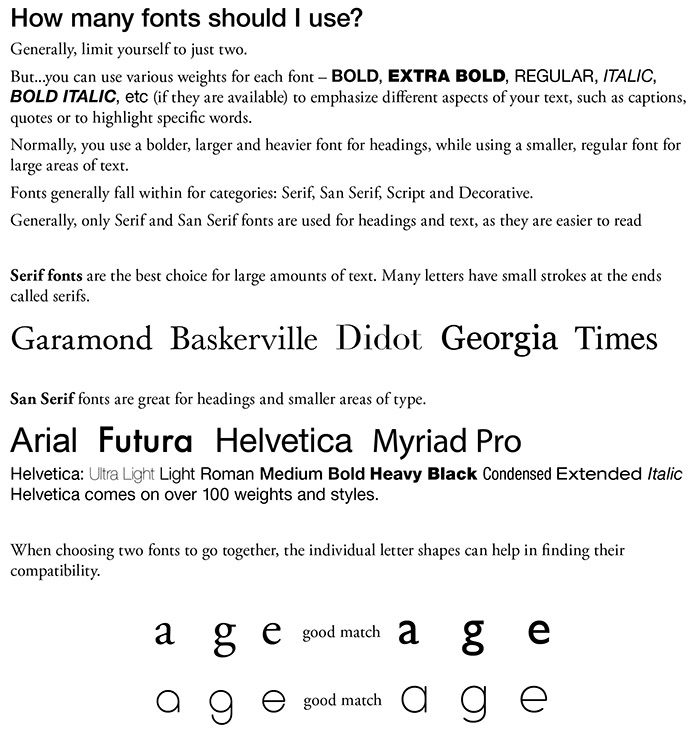 A4 education template How many fonts should I use
